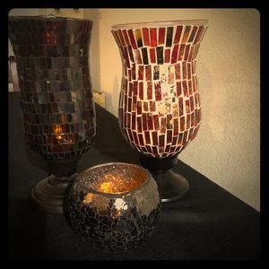 2 large and one small Mosaic candle holders